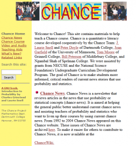 Chance Welcome Page